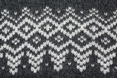 Part of Grey Knitted Sweater With White Jacquard Ornamnet Royalty Free Stock Images