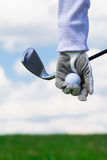 part of a hand ball by a golfer Stock Photos