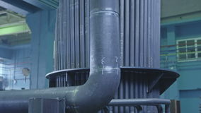 Part of the heat conduction. Pan over welded pipes, part of the future heat conduction for water steam stock video footage