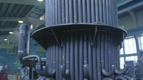 Part of the heat conduction. Pan over welded pipes, part of the future heat conduction for water steam stock video