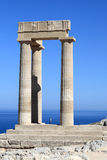 Part of Hellenistic stoa. At Lindos Acropolis, Greece Royalty Free Stock Photography