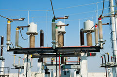 Part of high-voltage substation Royalty Free Stock Photo