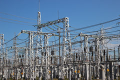 Part of high-voltage substation Royalty Free Stock Photography