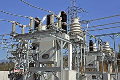 Part of high-voltage substation. With switches and disconnectors Royalty Free Stock Image