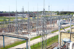 Part of high-voltage substation. With switches and disconnectors Royalty Free Stock Photos
