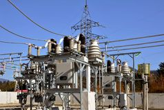 Part of high-voltage substation. With switches and disconnectors.High voltage converter at a power plant Stock Photo