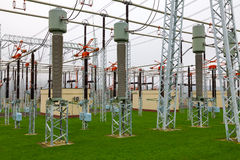 Part of high-voltage substation with switches and disconnectors Royalty Free Stock Image