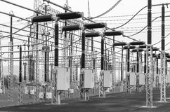 Part of high-voltage substation with switches and disconnectors Royalty Free Stock Photography