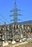 Part of high-voltage substation. With switches and disconnectors.High voltage converter at a power plant Royalty Free Stock Images