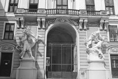 The part of the historic building with statues in Vienna. Royalty Free Stock Photos