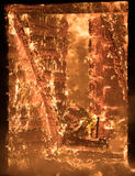 Part of a House on Fire. Window view to Fire. Photo of Part of a House on Fire. Window view to Fire Inside Wooden Old House Royalty Free Stock Photography