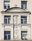 Part of house wall with soviet art fretwork Stock Photography