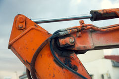 Part of the hydraulic system of an excavator Royalty Free Stock Photography