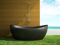 Part of interior bathroom with grass floor 3D rendering Royalty Free Stock Images