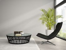 Part of  interior with black armchair 3D rendering Royalty Free Stock Photo