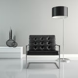 Part of  interior with black floor lamp 3D rendering Royalty Free Stock Photos