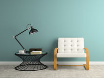 Part of  interior with black lamp 3D rendering Stock Photo