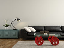 Part of  interior with black sofa 3D rendering Royalty Free Stock Images