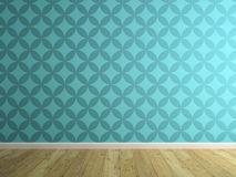 Part of interior with blue wallpaper 3D rendering 2. Part of interior with blue wallpaper 3D rendering stock image