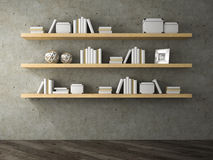 Part of Interior with book shelf 3D rendering Royalty Free Stock Images