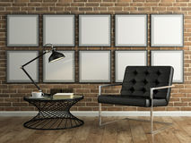 Part of  interior with brick wall and black armchair 3D renderin Stock Photos