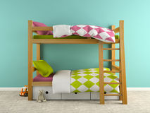 Part of  interior with bunk bed 3D rendering Stock Photography