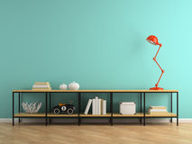 Part of interior with console and red lamp 3D rendering royalty free stock image