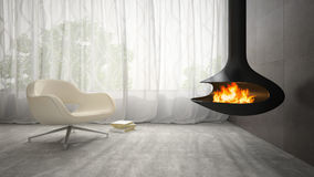 Part of interior with fireplace and armchair 3D rendering Stock Photo