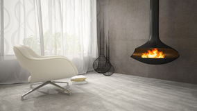 Part of interior with fireplace and white armchair 3D rendering Stock Image