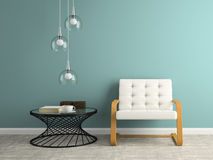 Part of  interior with glass lamp 3D rendering Stock Photos
