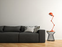 Part of interior with grey sofa and red lamp 3D rendering Stock Images