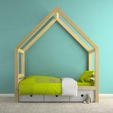 Part of interior with hous bed 3D rendering Royalty Free Stock Photos