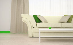 Part of the interior of the living room in white and green colors. Stock Photos