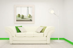 Part of the interior of the living room in white and green colors with a large painting on the wall. Stock Image