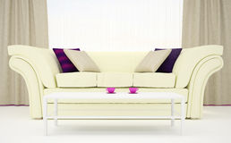Part Of The Interior Of The Living Room In White And Purple Colors Stock Image