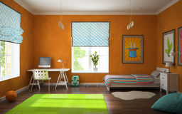 Part of interior modern childroom with orange walls Stock Image