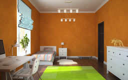 Part of interior modern childroom with orange walls 3D rendering Stock Photography
