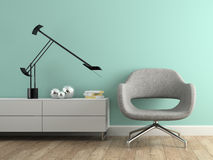Part of interior with  modern grey armchair Stock Photo