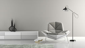 Part of interior with  modern grey armchair 3D rendering Stock Photography