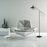 Part of interior with modern grey armchair 3D rendering 2 Stock Photography