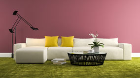 Part of interior with  modern whitw sofa and purple wall  3d ren Stock Photo