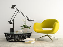 Part of interior with  modern yellow armchair 3d rendering 2 Stock Photo