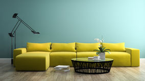 Part of interior with  modern yellow sofa 3d rendering 3 Stock Images