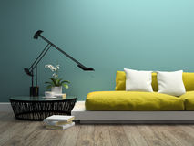 Part of  interior with  modern yellow sofa 3d rendering 2 Royalty Free Stock Photos