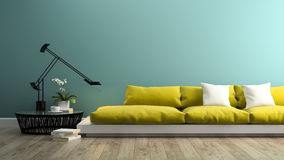 Part  of interior with  modern yellow sofa 3d rendering Royalty Free Stock Photos