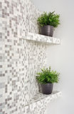 Part of interior with mosaic and green plants Royalty Free Stock Photos