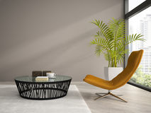 Part of  interior with orange armchair 3D rendering Royalty Free Stock Photo