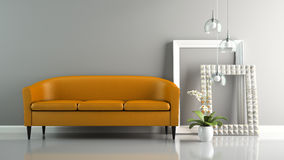 Part of  interior with orange sofa and stylish frames 3D renderi Royalty Free Stock Photography
