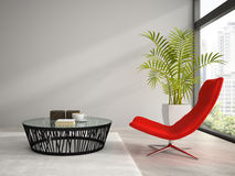 Part of  interior with red armchair 3D rendering Royalty Free Stock Photos