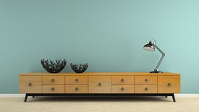 Part of  interior with retro consol and black lamp 3D rendering Stock Image